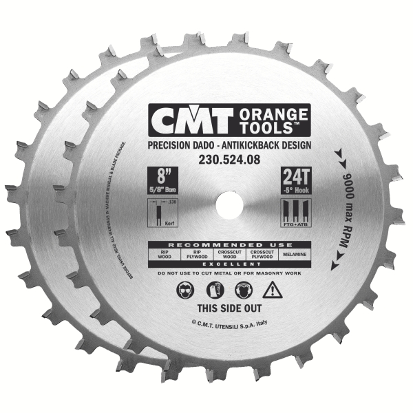 CMT 8 Inch x 24T Carbide Dado Set